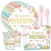 Boho Birthday Girl Standard Tableware Kit (Serves