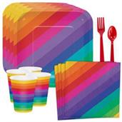 Rainbow Party Standard Tableware Kit (Serves 8)