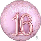 "Sixteen Blush 36"" Jumbo Shaped Foil Balloon"