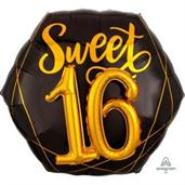 "Elegant Sixteen 26"" Jumbo Shaped Foil Balloon"