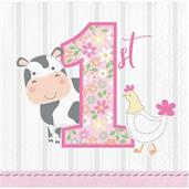Sweet Farmhouse 1st Birthday Beverage Napkins (16)