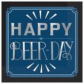 Happy Birthday Man - Beer-Day Beverage Napkins (16