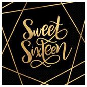 Elegant Gold Sweet 16 Lunch Napkins (16)