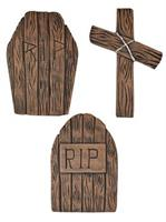 set of 3 Wood Look R.I.P 2 Foot  Tombstone