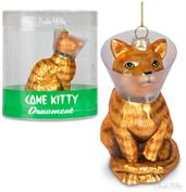 "Cone Kitty 4"" Glass Holiday Christmas Ornament"