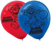 "Super Mario Bros. 12"" Red/Blue Party Balloons, 6-Pack"