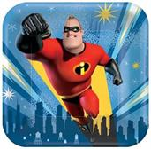 "Disney/Pixar Incredibles 2 7"" Square Paper Party Plates, 8-Pack"