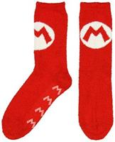 Super Mario Bros. Red Mario Logo Cozy Adult Crew Socks