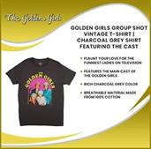 Golden Girls Group Shot Vintage T-Shirt | Charcoal Grey Shirt Featuring The Cast