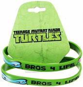 "Teenage Mutant Ninja Turtles ""Bros 4 Life"" Green Rubber Bracelet 2-Pack"