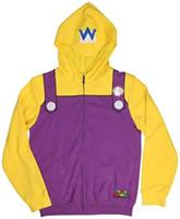 Super Mario Wario Adult Costume Zip Up Hoodie