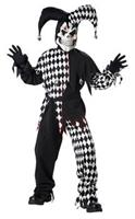 Evil Jester Black And White Costume Child Tween