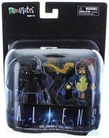 Aliens Deluxe Queen Alien with Warrior Alien & Battle-Damaged Bishop Minimates