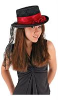 Gothic Rose Black and Red Adult Costume Top Hat
