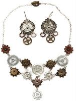 Steampunk Multi Gear Costume Necklace and Earrings Set Adult
