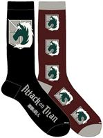 "Attack on Titan ""Cadet Corps Emblem"" Unisex Crew Cut Socks: 2-Pack"