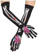 Day Of The Dead Skeleton Costume Gloves Teen/Adult Women