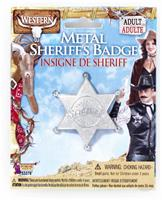 Silver Metal Costume Sheriff Badge Adult