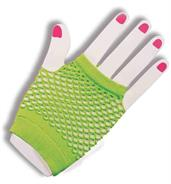 80's Neon Green Fingerless Fishnet Adult Costume Gloves