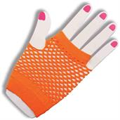 80's Neon Orange Fingerless Fishnet Adult Costume Gloves