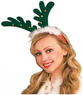 Green Reindeer Costume Antlers with Bells