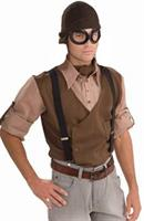 Steampunk Aviator Cloth Headpiece and Goggles Costume Accessory Set