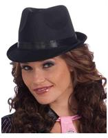 Ladies Adult Costume Black Fedora Hat With Black Band