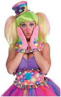 Circus Sweetie Pink Ruffled Adult Costume Gloves
