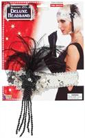 Silver Sequin Adult Costume Flapper Headband With Black Feathers