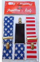 Patriotic Red, White, And Blue Striped Adult Costume Suspenders