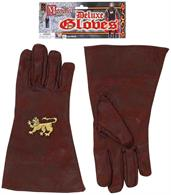 Brown Medieval Adult Costume Gloves With Gold Lion Emblem