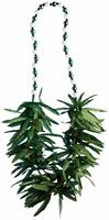 Green Leaf Beads Costume Necklace One Size