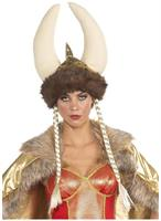 Deluxe Horned and Braided Viking Costume Helmet Adult