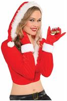 Red Santa Gloves Women's Costume Accessory
