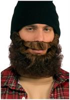 Curly Beard With Attached Mustache Brown