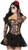 Day Of The Dead Skull Long Costume Gloves