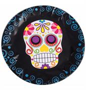 "Day Of The Dead 9"" Round Disposable Plate 8 Pack"