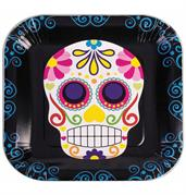 "Day Of The Dead 9"" Square Disposable Plate 8 Pack"