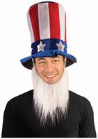 Uncle Sam Hat w/ Beard Men's Costume Accessory