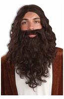 Biblical Wig and Beard Costume Accessory Set: Brown