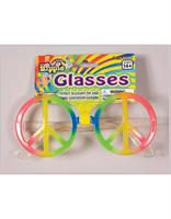60's 70's Hippie Rainbow Peace Sign Costume Glasses