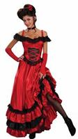 Western Saloon Sweetie Sexy Red and Black Dress Costume Adult