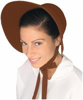 Colonial Felt Bonnet Costume Hat Adult: Brown