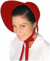Colonial Felt Bonnet Costume Hat Adult: Red