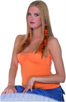 2-Piece Costume Hair Extensions: Orange and Black Skull