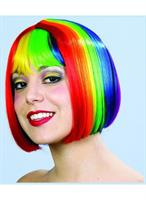 Rainbow Pride Multi Color Costume Bob Wig