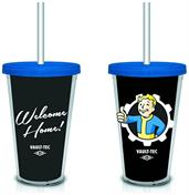 "Fallout ""Welcome Home"" Vault-Tec (Black) 18oz. Travel Cup with Straw"