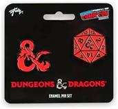 Dungeons & Dragons D20 Die and Ampersand Exclusive Enamel Pin Set