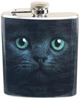 Black Cat With Green Eyes 7oz Flask