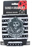 Sons of Anarchy Black and White Stripe Reaper Foam Can Huggie